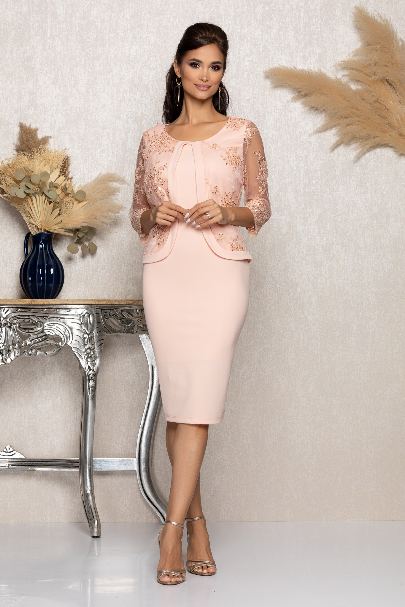 Rochie Verity Peach Marimi Mari XXL (44) | 3XL (46) | 4XL (48) | 5XL (50)