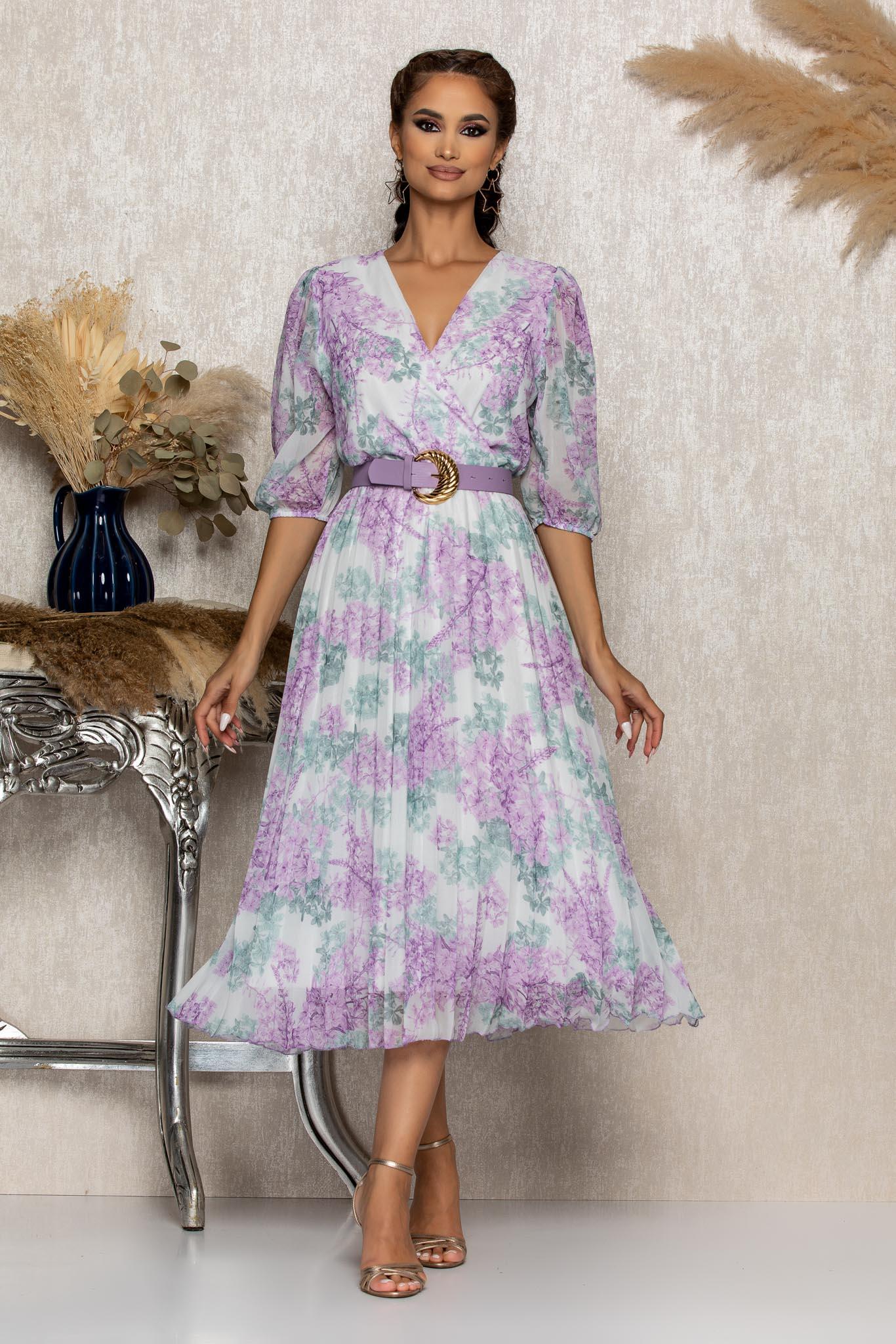 Rochie Cryna Lila Floral Marimi Mari XL (42)   XXL (44)   3XL (46)