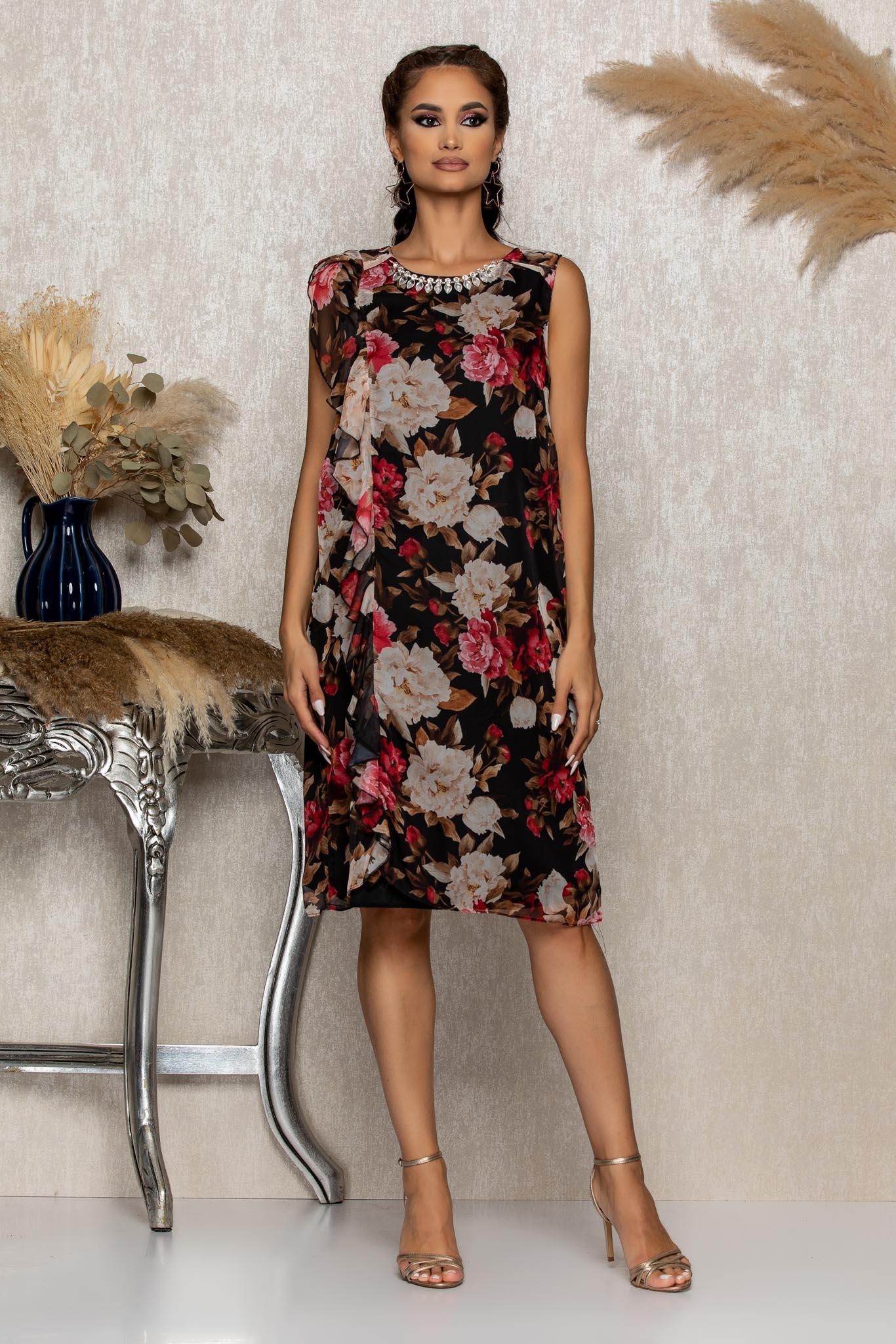 Rochie Kayra Negru Floral Marimi Mari XL (42) | XXL (44) | 3XL (46)
