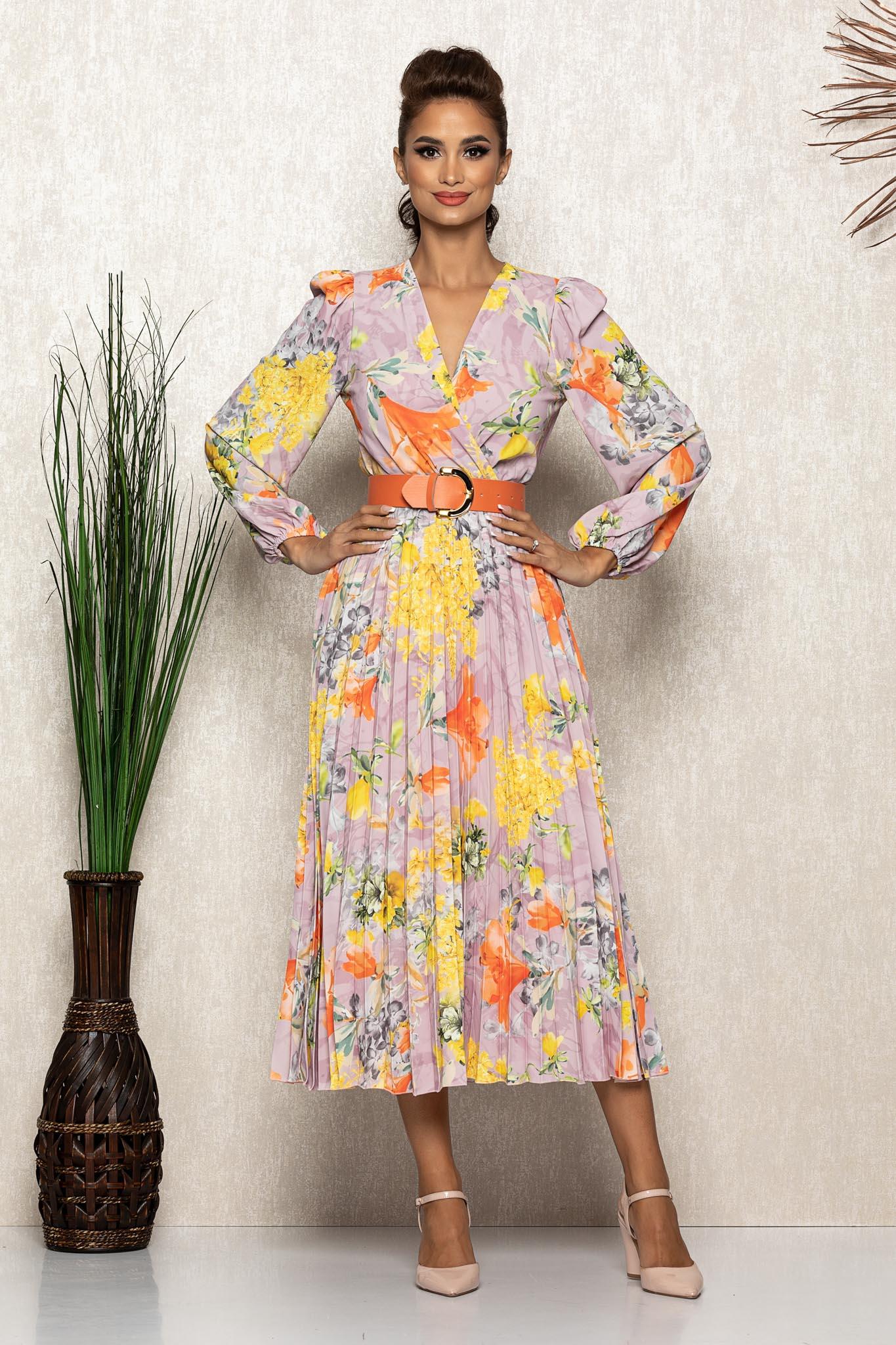 Rochie Malina Galben Floral Marimi Mari S (36) | M (38) | L (40) | XL (42) | XXL (44) | 3XL (46)