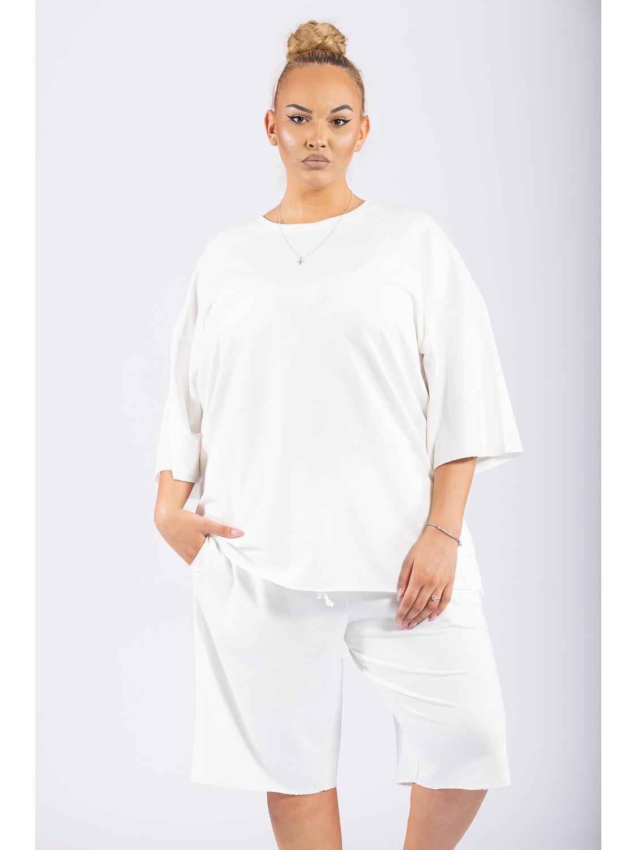 Compleu Dama Oversize Alb Plus Size marime