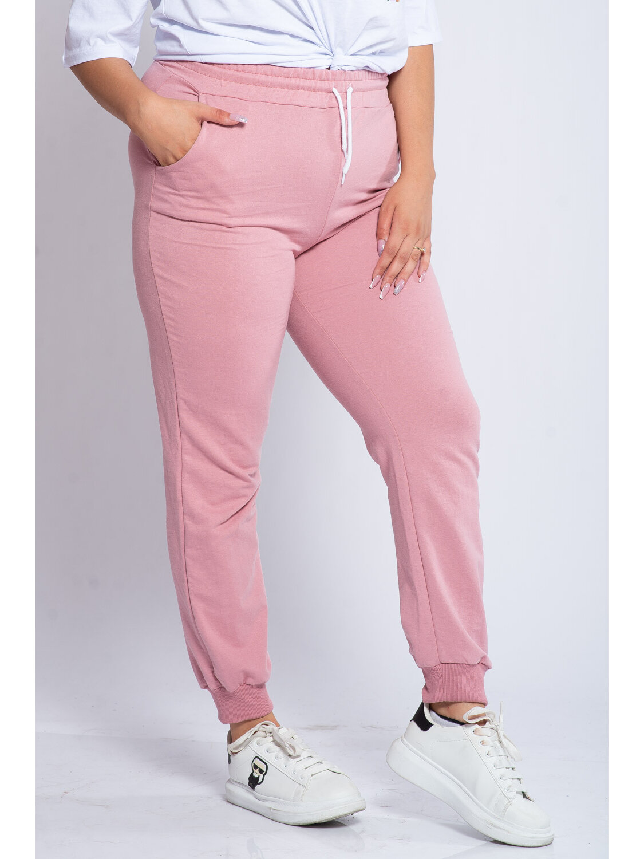 Pantaloni Dama Carina Roz Plus Size marime