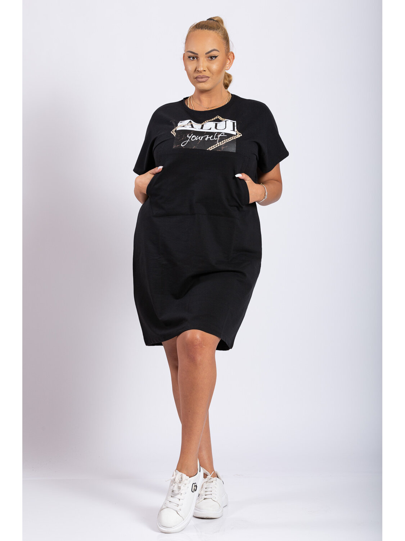 Rochie Dama Oana Negru Plus Size marime