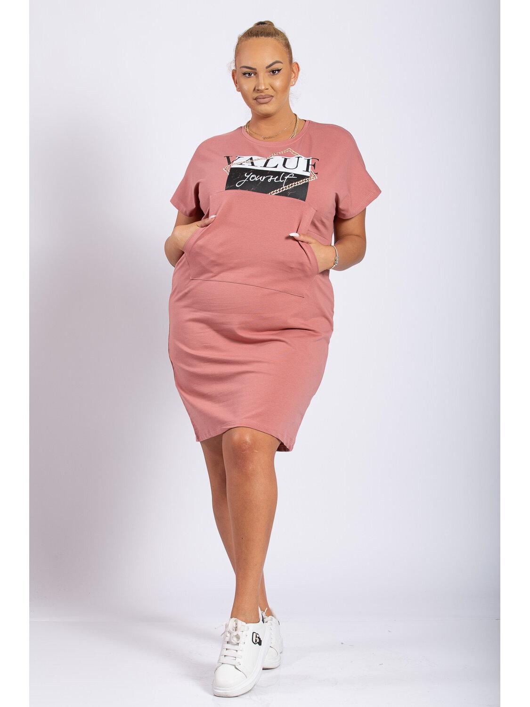 Rochie Dama Oana Roz Plus Size marime