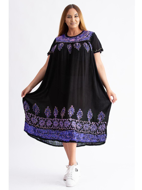 Rochie Dama Traditionala 9 Bleu Plus Size marime
