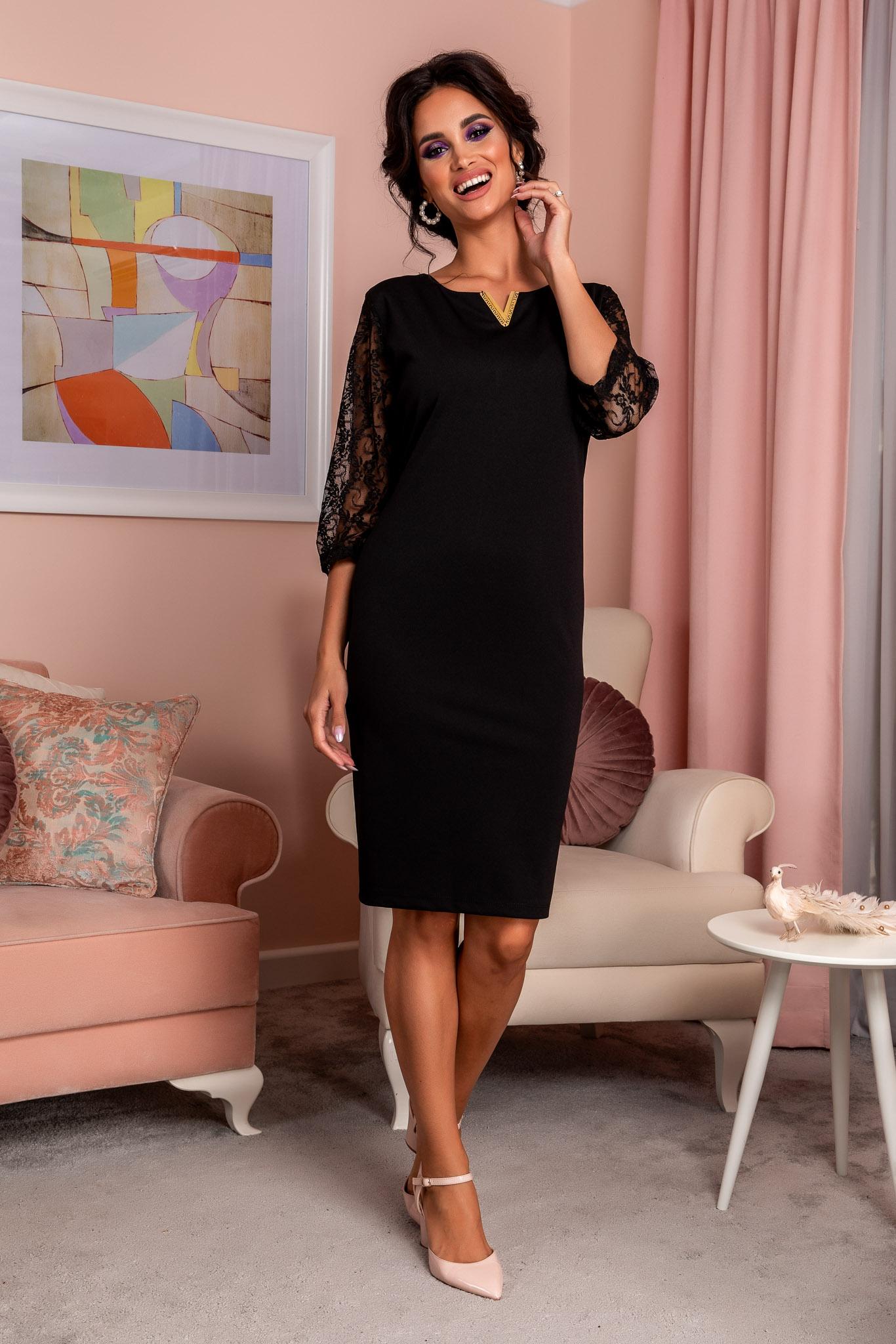 Rochie Trysha Neagra Marimi Mari XXL (44) | 3XL (46) | 4XL (48) | 5XL (50)