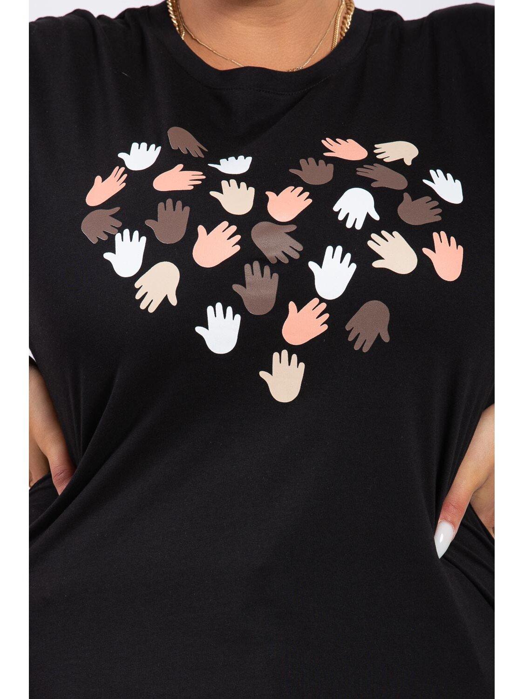Tricou Dama Care Negru Plus Size marime