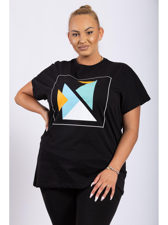 Tricou Dama Geometry Negru Plus Size marime
