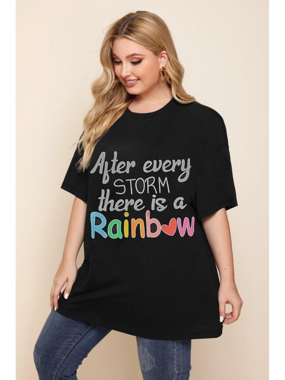 Tricou Dama Rainbow Negru Plus Size marime