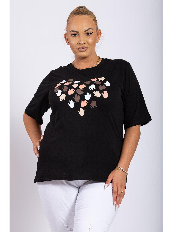 Tricou Dama Risha Negru Plus Size marime