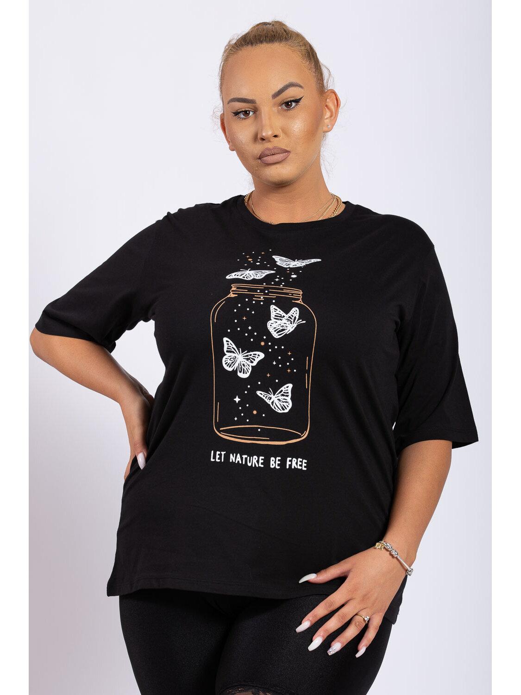 Tricou Dama Wish Negru Plus Size marime
